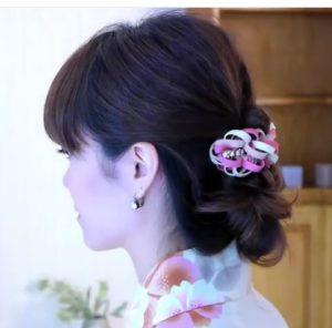 浴衣の髪型ロングの編み込みアップ
